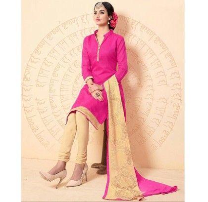 Pink Chanderi Dress Material - Pink - Volono