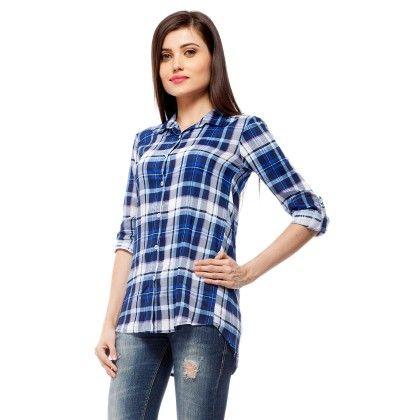 Blue & White Plaid Shirt With Lace Back - StyleStone