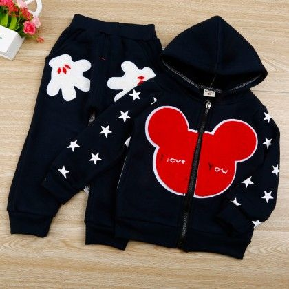 Cartoon Print Navy Hoodie And Pant - 2 Pcs Set - Chirpy Frost