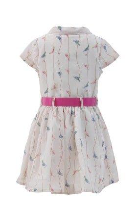 Ivory-pink Georgette Bird Print Dress - Magic Fairy
