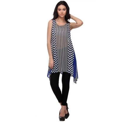 Navy Blue & White Geometric High-low Tunic - Varanga
