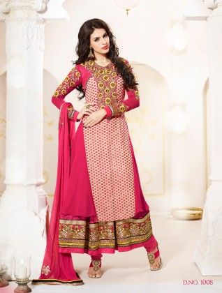 Pink-georgette Dress Material - Touch Trends Ethnic