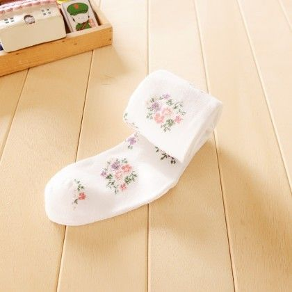 Waist High Stocking Floral - White - Cherry Blossoms