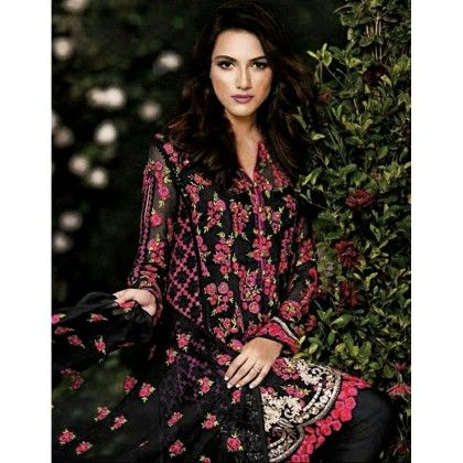 Black Floral Embroidered Semi Stitched - Black - Trendy And Style
