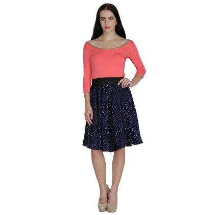 Printed Womens A-line Skirt - Navy - Shopingfever