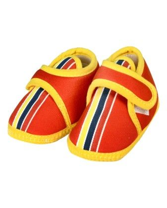 Multicolored Striped Cute Baby Shoes In Red & Yellow - Small Toes