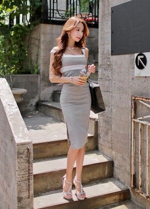Gray Party Pencil Dress - The Dressing Loft