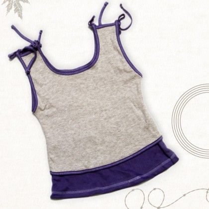 Purple And Grey A Line Knot Top - TINY TODDLER