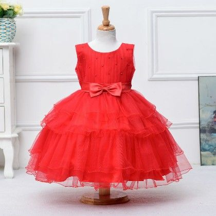 Peach Giirl Flouncy Red Layered Dress - Red