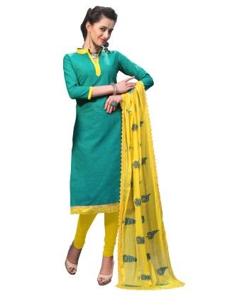 Sea Green Exclusive Dress Material With Embroidery Fancy Dupatta - Riti Riwaz