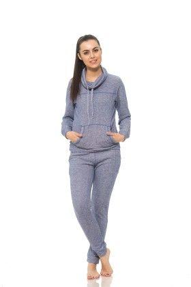 Womens Long Sleeve Cowl Neck Sweatshirt Navy - S2 Sportswear