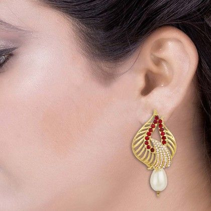 Gold Tone Danglers Studded With Cz And Pearl Beads - Voylla