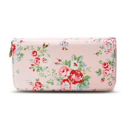 Pink Floral Print Zipper Wallet - Violette