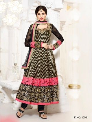 Black- Georgette Dress Material - Touch Trends Ethnic