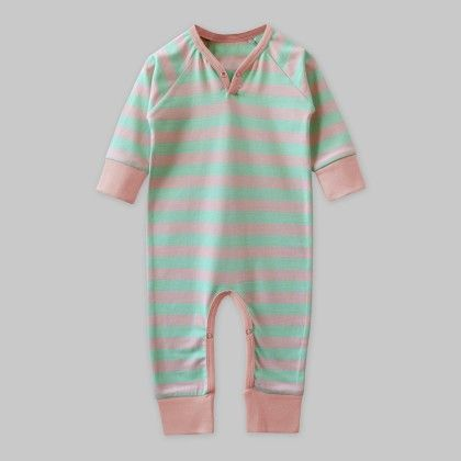 Full-sleeves Playsuit Green-peach Stripe - A.T.U.N