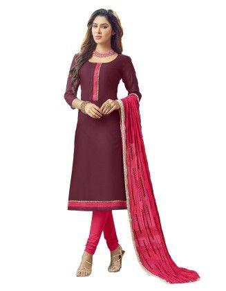 Unstitched Dress Material Violet & Pink - Riti Riwaz