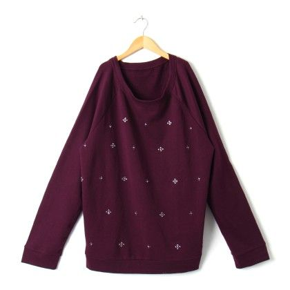 Sequnce Work Sweat Tshirt Plus Size - Maroon - STUPA FASHION