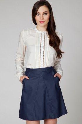 Leather Navy Skirt - Ambigante