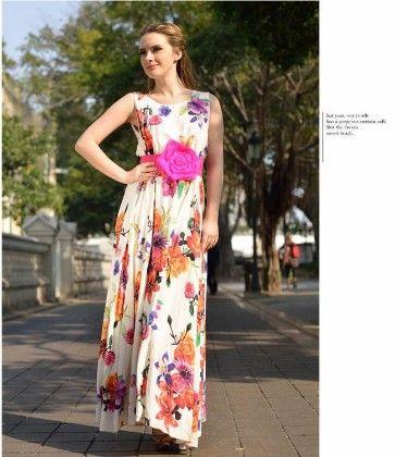Floral Print Long Dress - Drape In Vogue - 254561