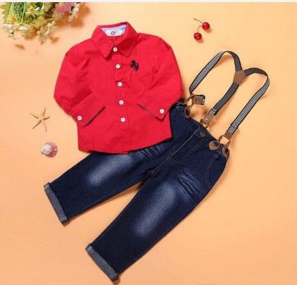 Red Shirt With Suspender Pants - Tickles