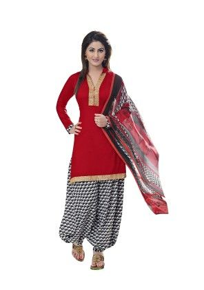Red Exclusive Cotton Satin Printed Dress Material With Matching Dupatta - Riti Riwaz