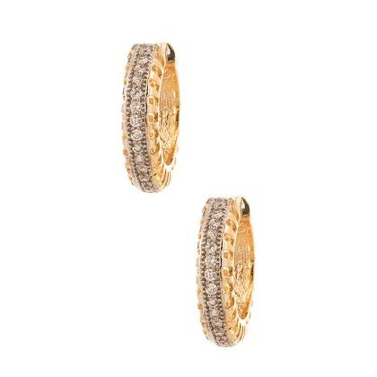 Gold Plated Earrings With Shiny Cz Stones - Voylla