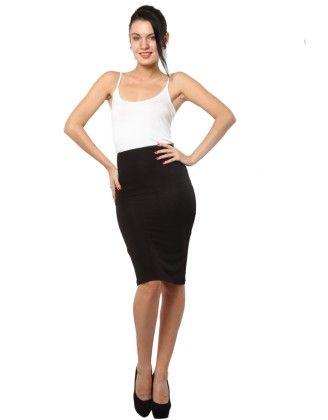 Jersey Pencil Skirt Black - XNY