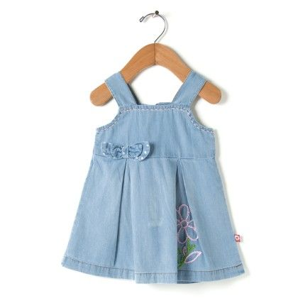 Stylish Denim Dress With Dotted Double Bow - Stone - O'Carina