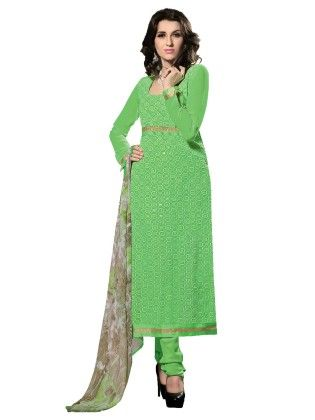844976b9ae Green Exclusive Embroidered Semi Stitched Salwar Suit With Matching Dupatta  - Riti Riwaz - 254756