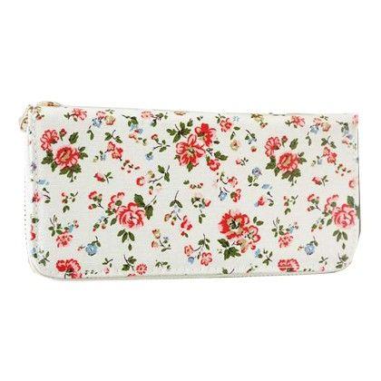 Floral Print White Zipper Wallet - Violette