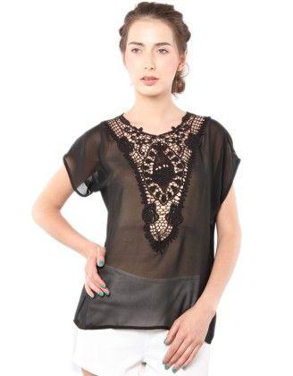 Lace Bib Design Top Black - XNY