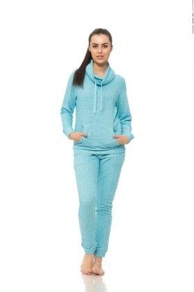 Womens Long Sleeve Cowl Neck Sweatshirt Blue - S2 Sportswear