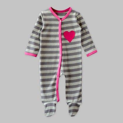 Grey Stripe Footie Jumpsuit With Heart Applique - A.T.U.N