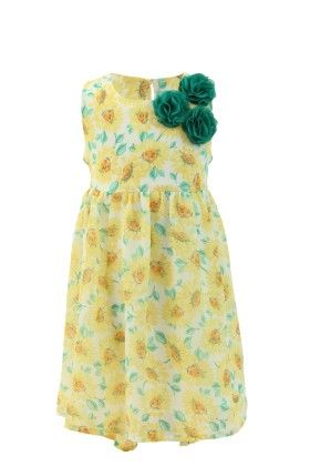 Sunshine Yellow Georgette Floral Printed Dress - Magic Fairy