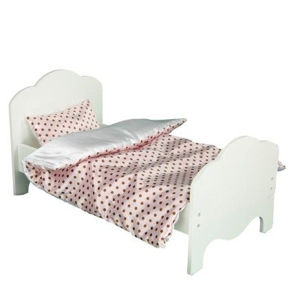 Little Princess Doll Furniture-single Bed & 2 Bedding Set-polka Dots-modern Chevron - Teamson Kids