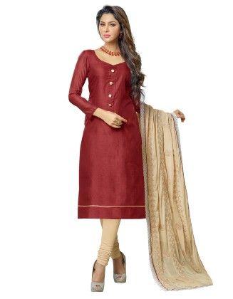 Unstitched Dress Material Beige & Maroon - Riti Riwaz