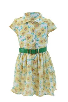 Yellow-green Georgette Floral Printed Dress - Magic Fairy
