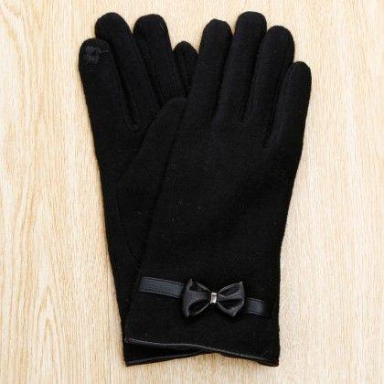 Classy Studded Bow Applique Gloves - Black - Glaze