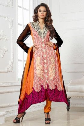Multi Georgette Dress Material - Touch Trends Ethnic