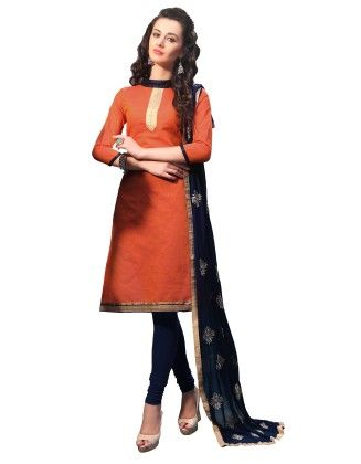 Orange Exclusive Dress Material With Embroidery Fancy Dupatta - Riti Riwaz - 243021