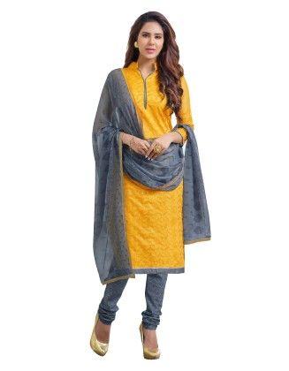 Orange Exclusive Chanderi Printed Dress Material With Matching Dupatta - Riti Riwaz