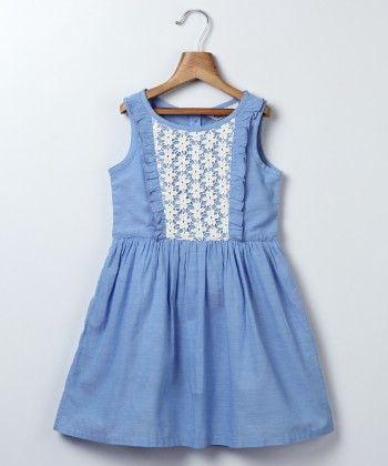 Chambray Lace Yoke Dress Blue - Beebay