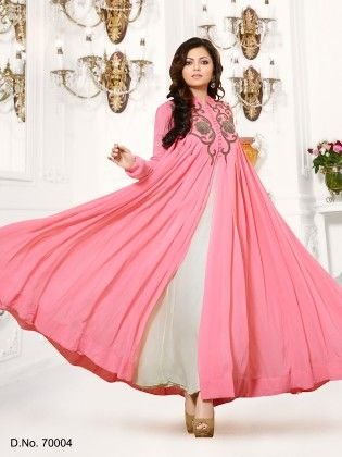Georgette Dress Material Pink - Touch Trends Ethnic