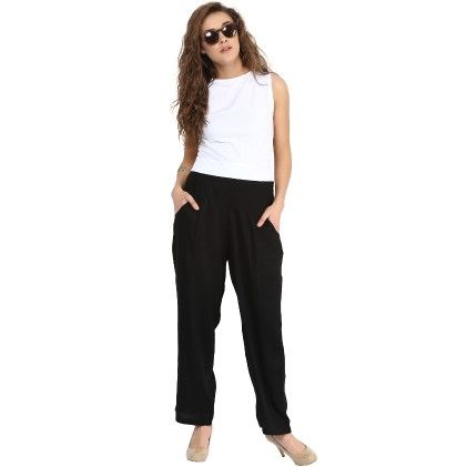 Shopingfever Black Trouser With Side Zipper