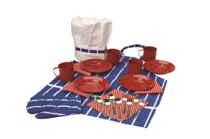 Red Dinnerware And Chef Set - Constructive Playthings
