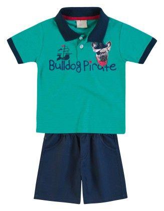 Bulldog Pirate Set - Polo & Shorts - Milon