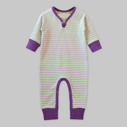 Full-sleeves Playsuit Lilac-green Stripe - A.T.U.N