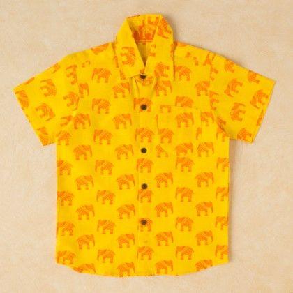 Printed Cotton Shirt Yellow - Pocket Fashion