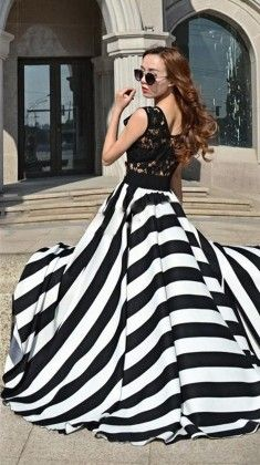 Hot Summer Black And White Stripes Lace Beach Dress - Dell's World