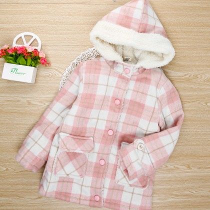 Pink Checkered Jacket With Fur Collar - Maisie